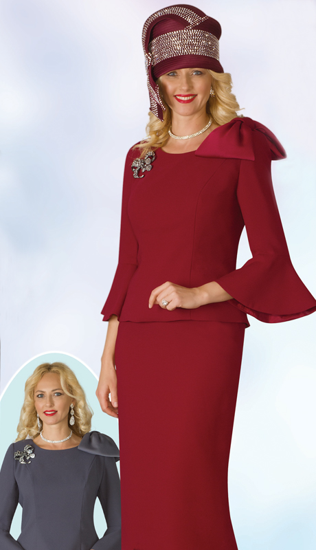 Lily And Taylor 4010-WC-IH ( 2pc Ladies Church Suit With Bell Sleeve With Rhinestone Brooch )
