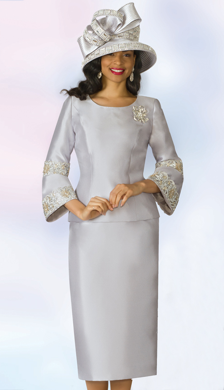 Lily And Taylor 4187-SI ( 2pc Silk Womens Church Suit With Flared Cuffs, Lace Trim And Brooch )