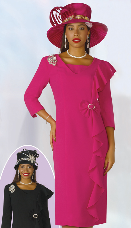 Lily And Taylor 3943-FU ( 1pc PeachSkin Womens Church Dress With Brooch And Ruffle Design )