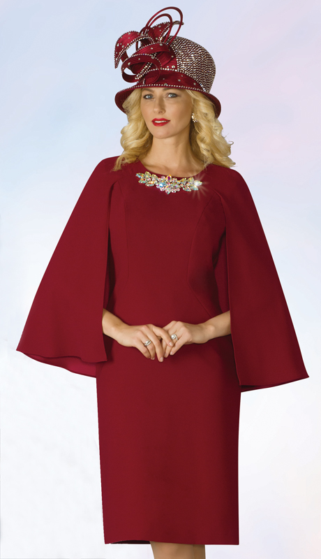 Lily And Taylor 4091-WI-IH ( 1pc Exclusive Crepe Duchesse Church Dress With Cape and Rhinestone Embellishment )
