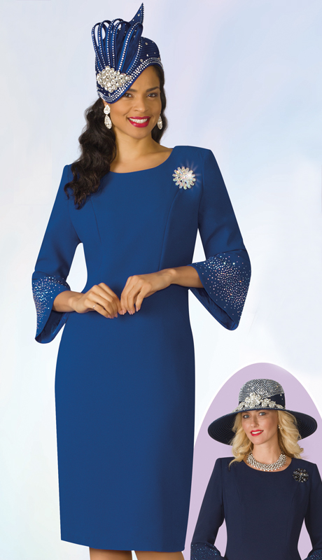 Lily And Taylor 4092-RO ( 1pc PeachSkin Womens Church Dress With Brooch And Rhinestone Embellished Bell Cuffs )