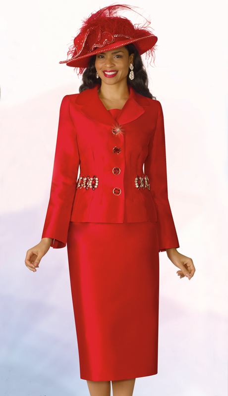 Lily And Taylor 4234-RE ( 2pc Silk Womens Church Suit With Embellished Jacket )