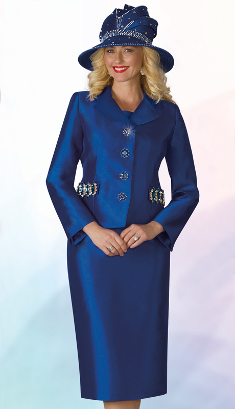 Lily And Taylor 4234-RO ( 2pc Silk Ladies Sunday Suit With Embellished Jacket )