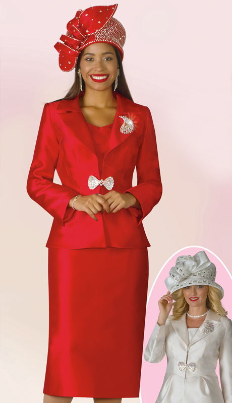 Lily And Taylor 4177-RE ( 3pc Silk First Ladiy Suit With Brooch And Notch Lapel )
