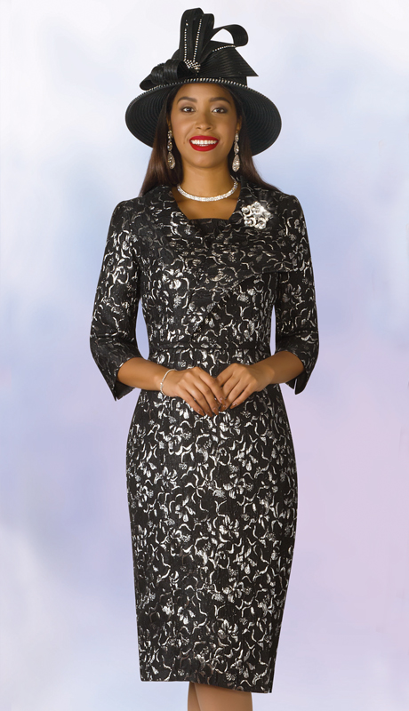 Lily And Taylor 4226-BS ( 1pc Novelty Womens Church Dress With Printed Design And Brooch )