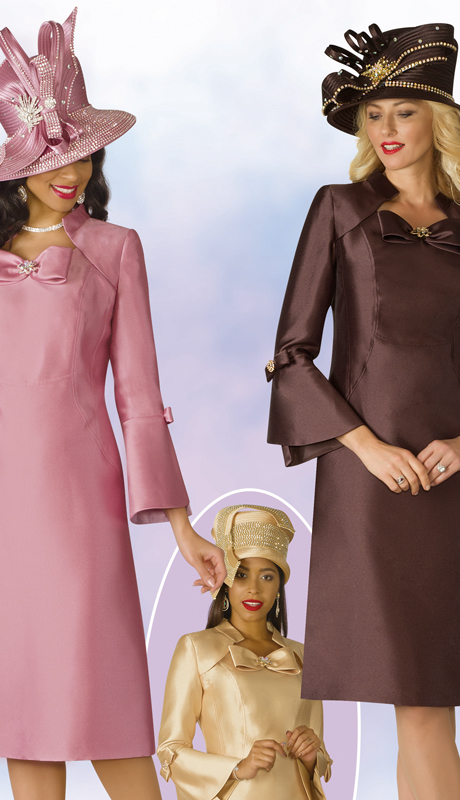 Lily And Taylor 4124-MGB ( 1pc Silk Ladies Church Dress With Bell Sleeves And Bow Adornment )
