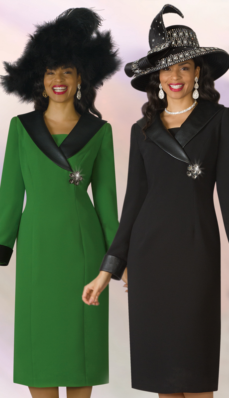 Lily And Taylor 4211-AGB ( 1pc PeachSkin Ladies Church Dress With Brooch And Faux Leather Collar And Cuffs )