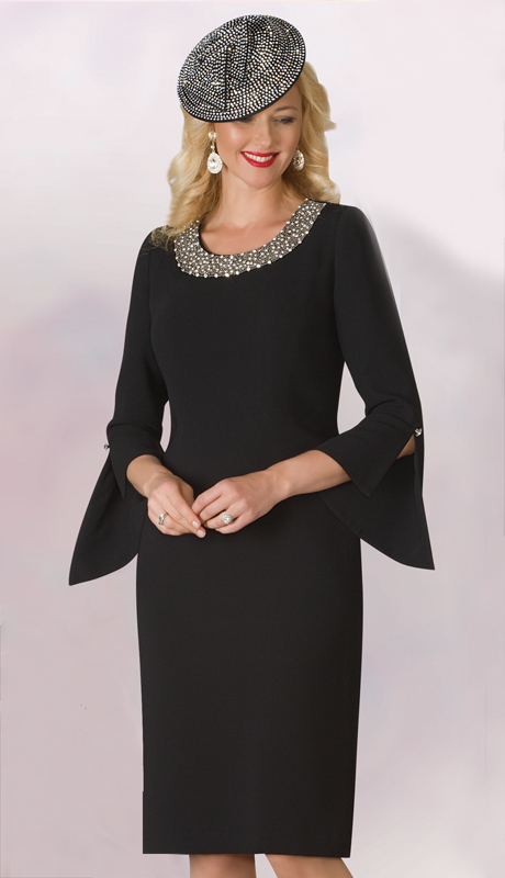 Lily And Taylor 4185-BK ( 1pc PeachSkin First Ladies Dress With Beaded Neckline And Split Bell Sleeves )