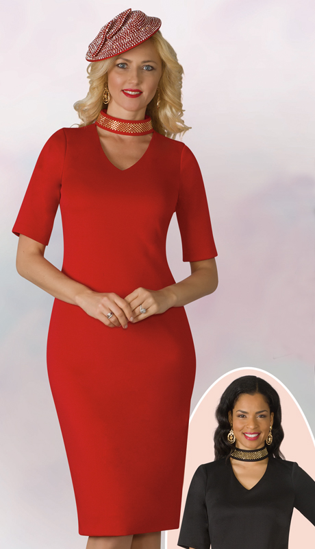 Lily And Taylor 4158-RE ( 1pc Knit Womens Church Dress With Vee Neckline Ponte And Beaded Necklace )
