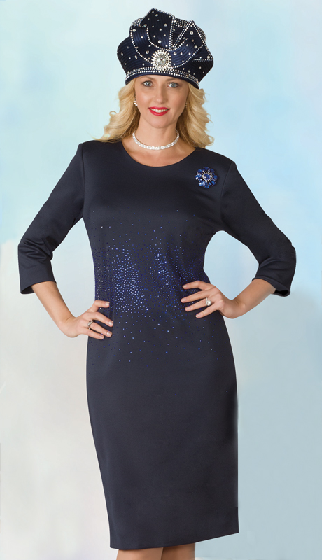 Lily And Taylor 4090-NA ( 1pc Scuba Knit Womens Church Dress With Rhinestone Embellisments And Brooch )
