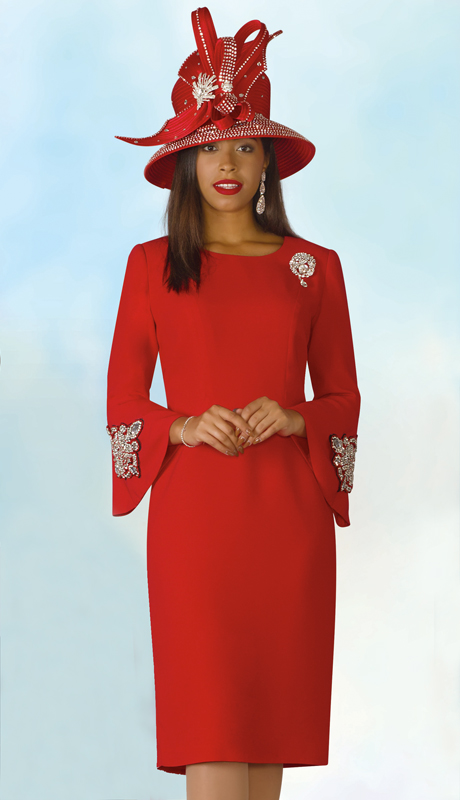 Lily And Taylor 4239-RE ( 1pc PeachSkin Ladies Sunday Dress With Brooch And Embellished Bell Sleeves )
