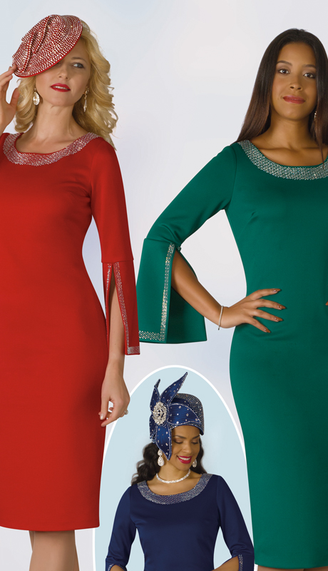 Lily And Taylor 4153-RE ( 1pc Knit Ladies Sunday Dress With Split Bell Cuff And Rhinestone Details )
