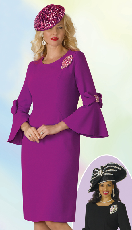 Lily And Taylor 4154-MA-IH ( 1pc PeachSkin Womens Church Dress With Bows, Bell Cuff Sleeves And Brooch )