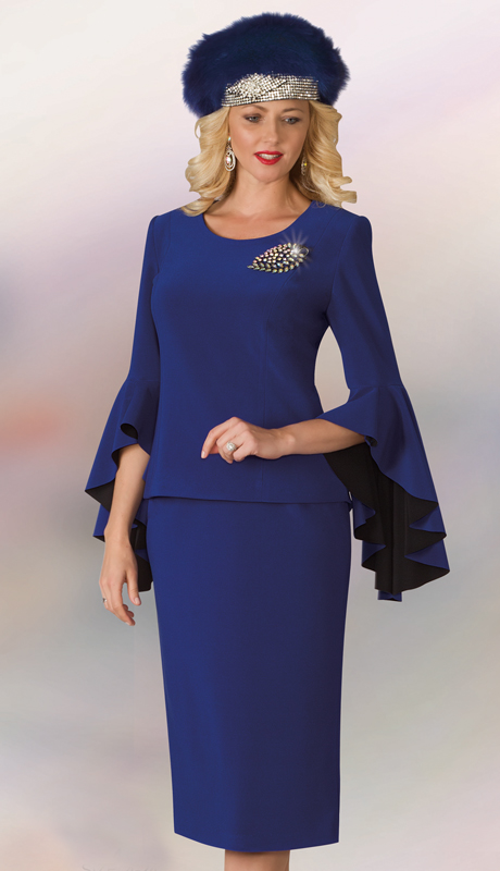 Lily And Taylor 4159-RO ( 2pc Scuba Knit Ladies Sunday Suit With Wide Bell Cuff Sleeves And Brooch )
