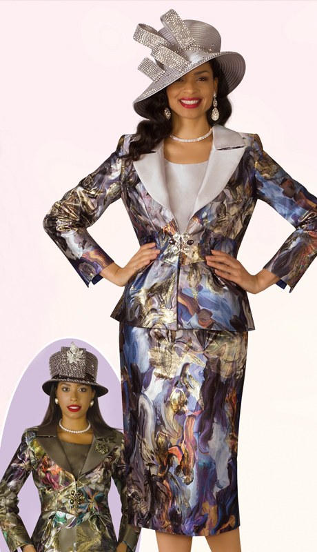 Lily And Taylor 4195-SM ( 3pc Novelty Womens Church Suit With Print Design And Brooch )