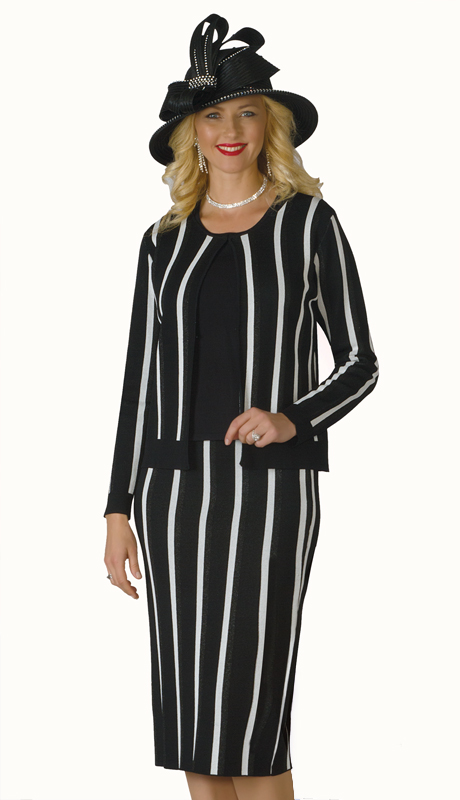 Lily And Taylor 615-BI ( 3pc Knit Ladies Sunday Suit With Striped Design )