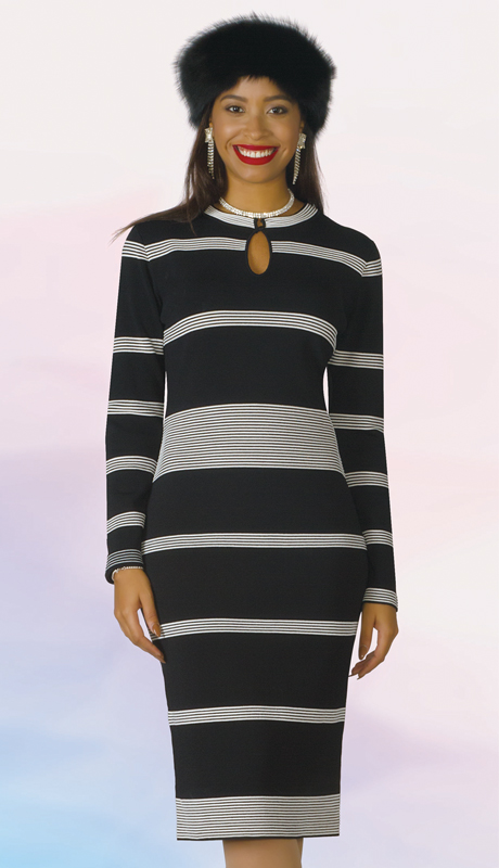Lily And Taylor 613-BI ( 1pc Knit Womens Striped Church Dress )