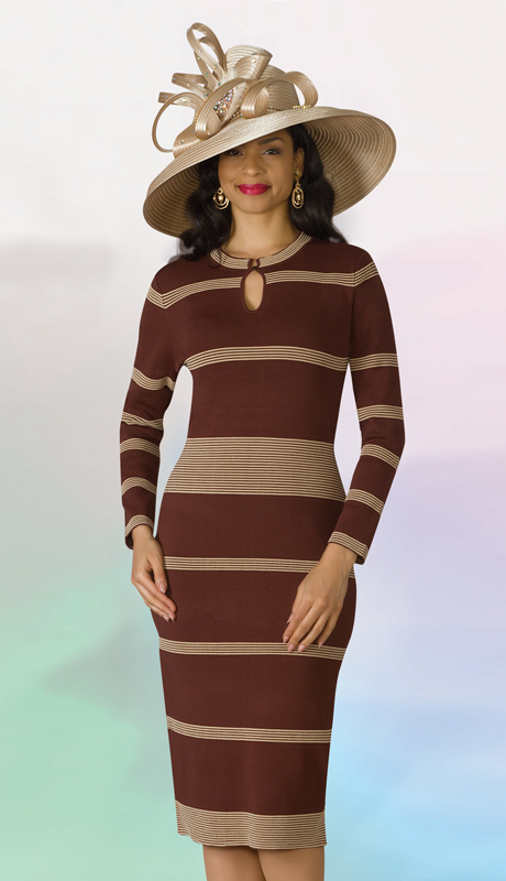 Lily And Taylor 613-BB ( 1pc Knit Ladies Striped Dress For Church )