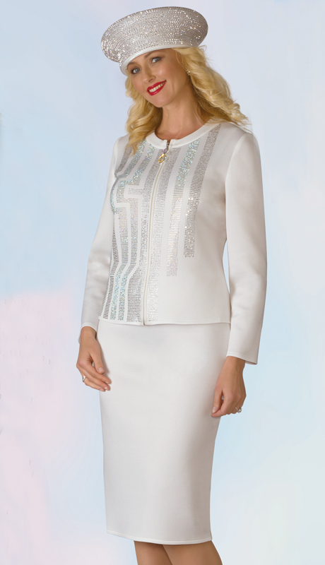 Lily And Taylor 4952-IV ( 2pc Scuba Knit Ladies Sunday Suit With Rhinestone Embellishments )