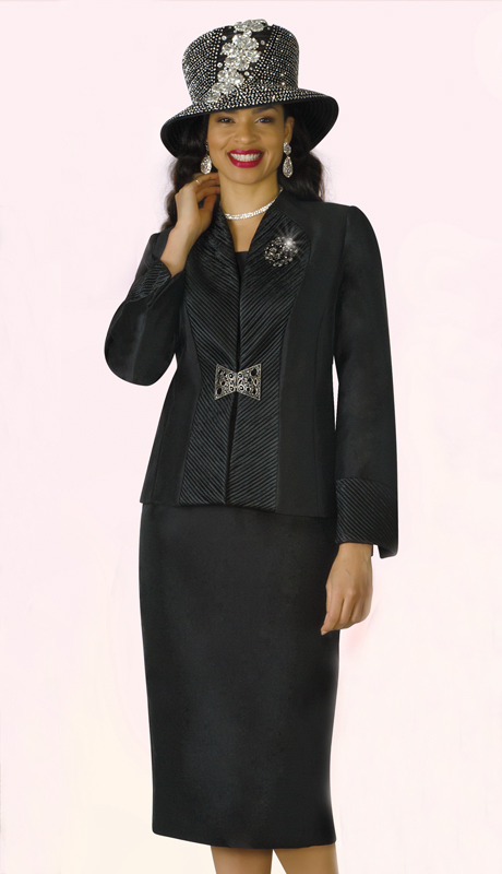 Lily And Taylor 4178-BK ( 3pc Silk Ladies Church Suit With Brooch And Novelty Trim Design )