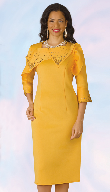 Lily And Taylor 4968-YE ( 1pc Scuba Knit First Lady Dress With Rhinestone Accents )