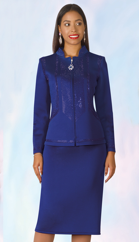 Lily And Taylor 4953-RO-IH ( 2pc Scuba Knit Ladies Sunday Suit With Rhinestone Accented Jacket )