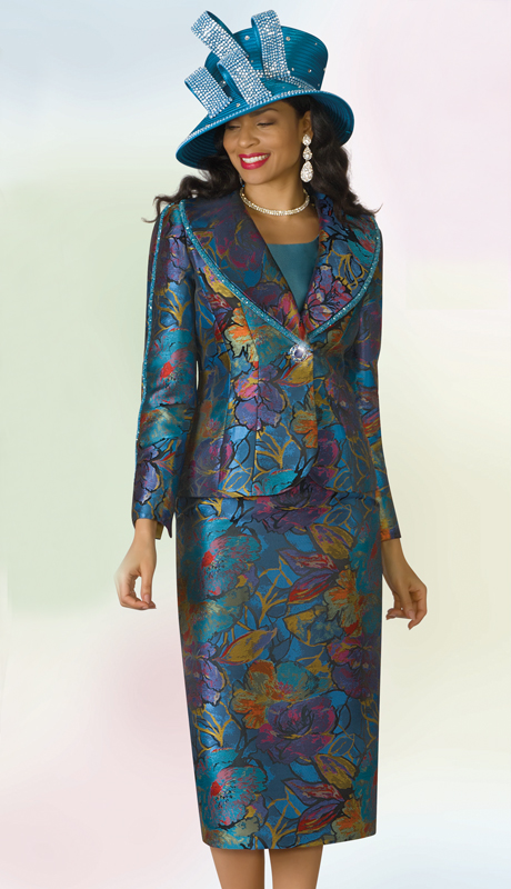 Lily And Taylor 4190-TM ( 3pc Novelty Ladies Sunday Suit With Print Design And Beaded Trim )