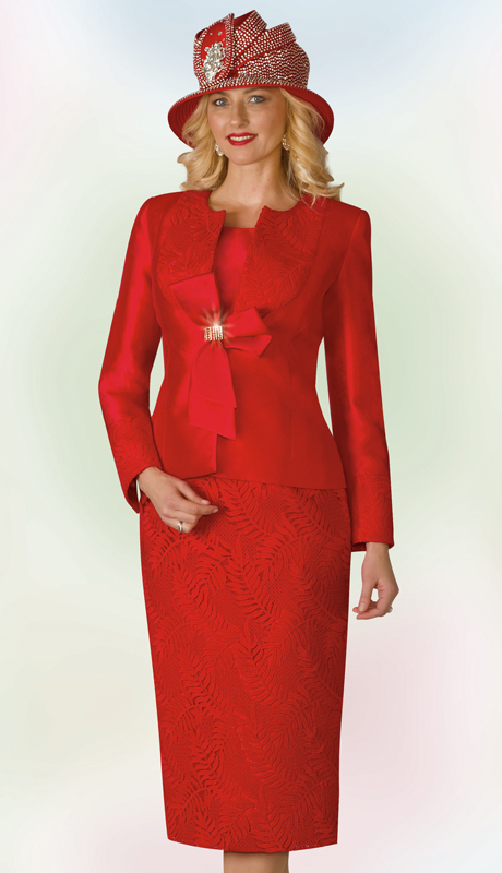 Lily And Taylor 4165-RE ( 3pc Exclusive Silk And Lace Ladies Church Suit With Bow Adornment )