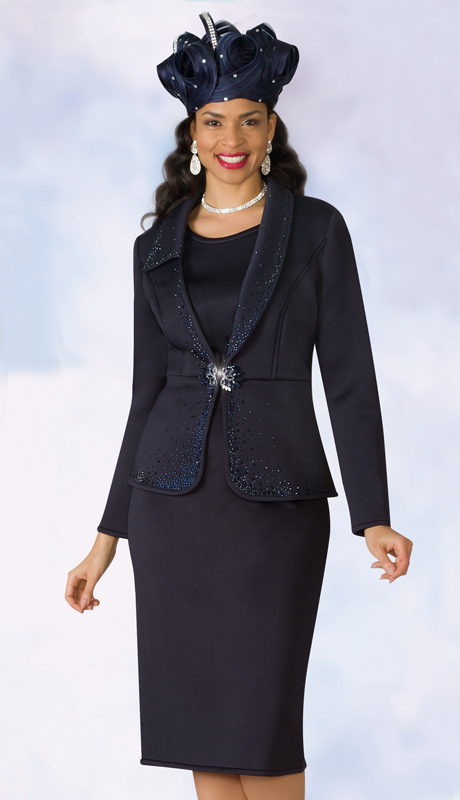 Lily And Taylor 4964-NA-IH ( 3pc Scuba Knit Womens Church Suit With Rhinestone Accented Jacket )