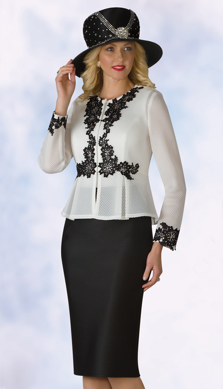 Lily And Taylor 4950-IB ( 3pc Scuba Knit Ladies Sunday Suit With Lace Accented Jacket )