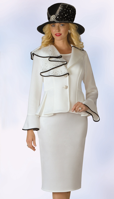Lily And Taylor 4955-IB ( 2pc Scuba Knit Ladies Sunday Suit With Ruffle Design And Bell Cuff Jacket )
