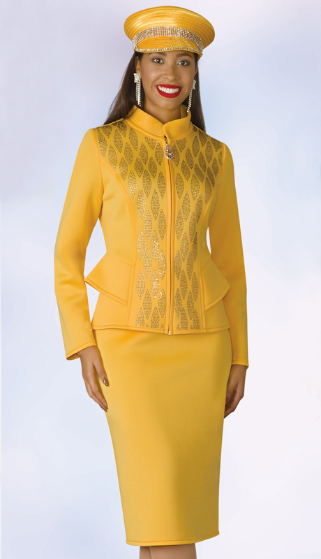 Lily And Taylor 4966-YE ( 2pc Scuba Knit First Ladies Suit With Nehru Collar And Rhinestones )