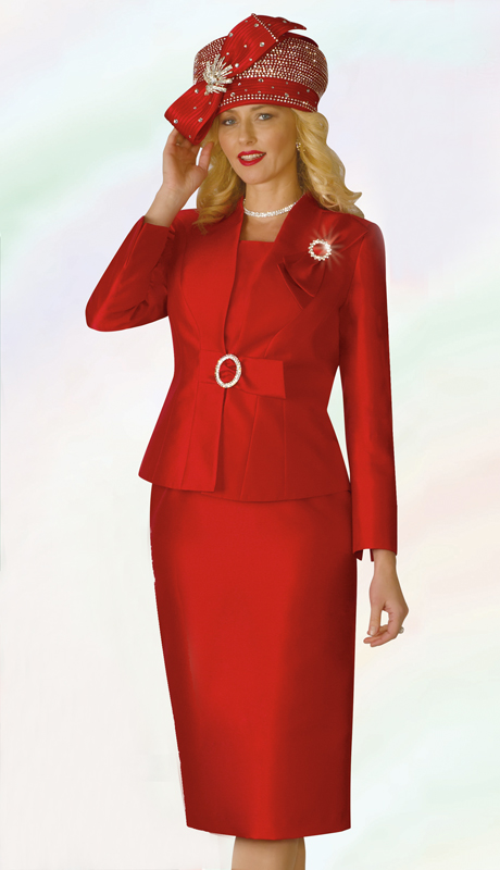 Lily And Taylor 4167-RE ( 3pc Silk Ladies Sunday Suit With Bow Aggents And Brooch )
