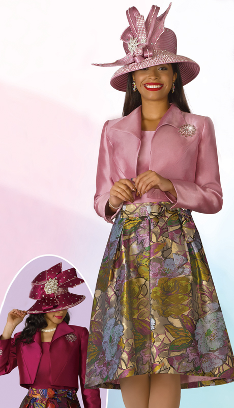 Lily And Taylor 4182-MM ( 3pc Silk Ladies Sunday Suit With Print Design, Solid Bolero Jacket And Brooch )