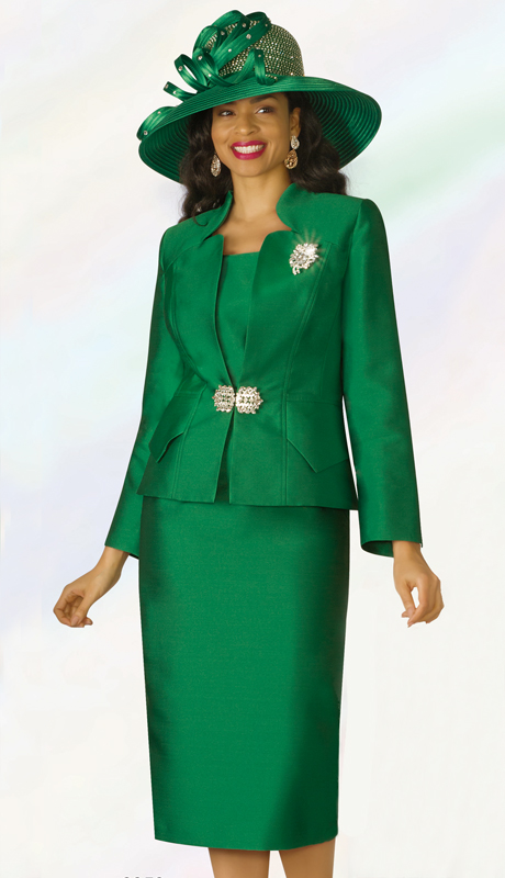 Lily And Taylor 3953-EM ( 3pc Silk Womens Church Suit With Star Neckline Jacket And Brooch )