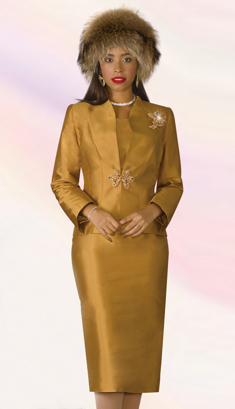Lily And Taylor 4188-GO ( 3pc Silk Womens Church Suit With Brooch )