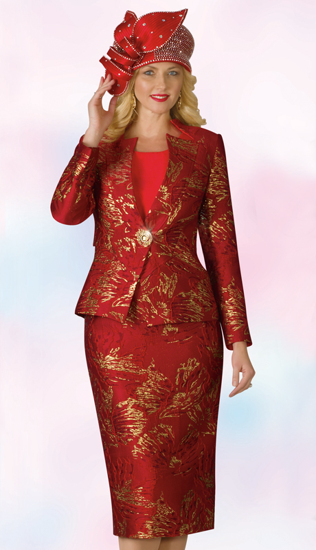 Lily And Taylor 4181-RM ( 3pc Novelty Ladies Church Suit With Star Neckline Jacket )