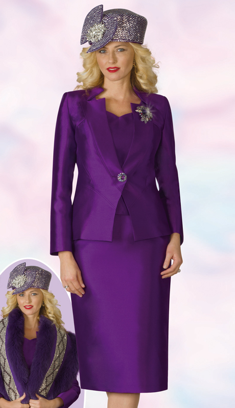 Lily And Taylor 4169-PU ( 3pc Silk First  Lady Suit With Star Neckline Jacket And Brooch )
