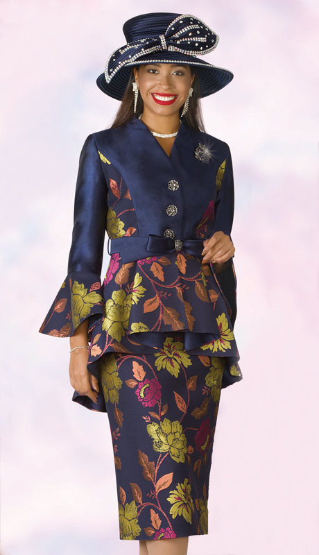 Lily And Taylor 4205-NM ( 2pc Novelty Silk Ladies Sunday Suit With Brooch And Peplum Bell Cuff Jacket )