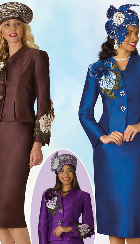Lily And Taylor 4122-BPR ( 2pc Silk Ladies Church Suit With Embroidery Trim Accents )