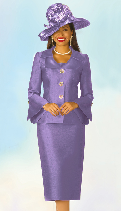 Lily And Taylor 4107-L-IH ( 2pc Silk Womans Church Suit With Jeweled Button Jacket And Wide Lapels )