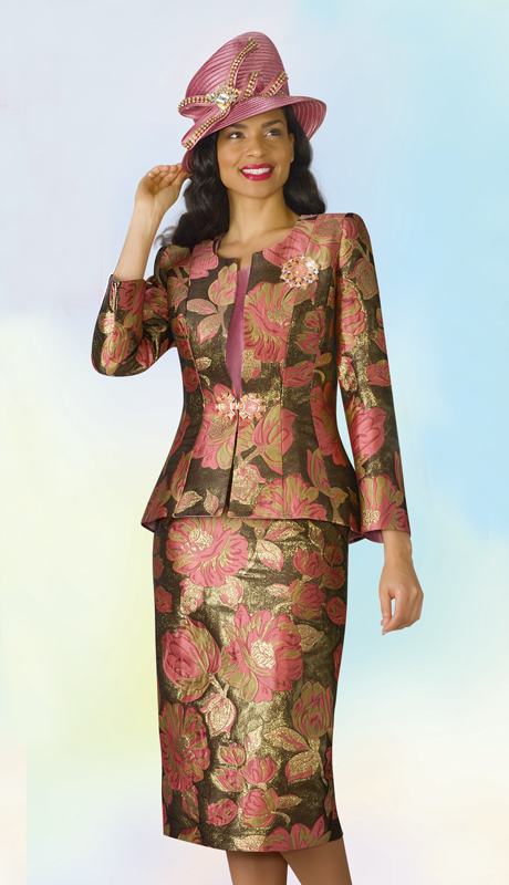 Lily And Taylor 4240-RM ( 3pc Novelty Ladies Sunday Suit With Brooch And Floral Print Design )