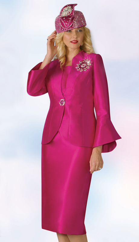 Lily And Taylor 4140-FU ( 3pc Silk Womens Sunday Suit With Bell Sleeves And Brooch )