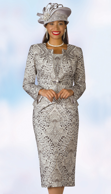Lily And Taylor 4164-SM ( 3pc Novelty Ladies Church Suit With Multi Print Design )