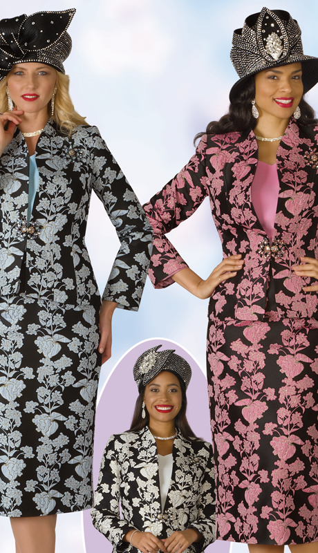 Lily And Taylor 4163-MU ( 3pc Novelty Womens Church Suit With Brooch And Swan Neckline )