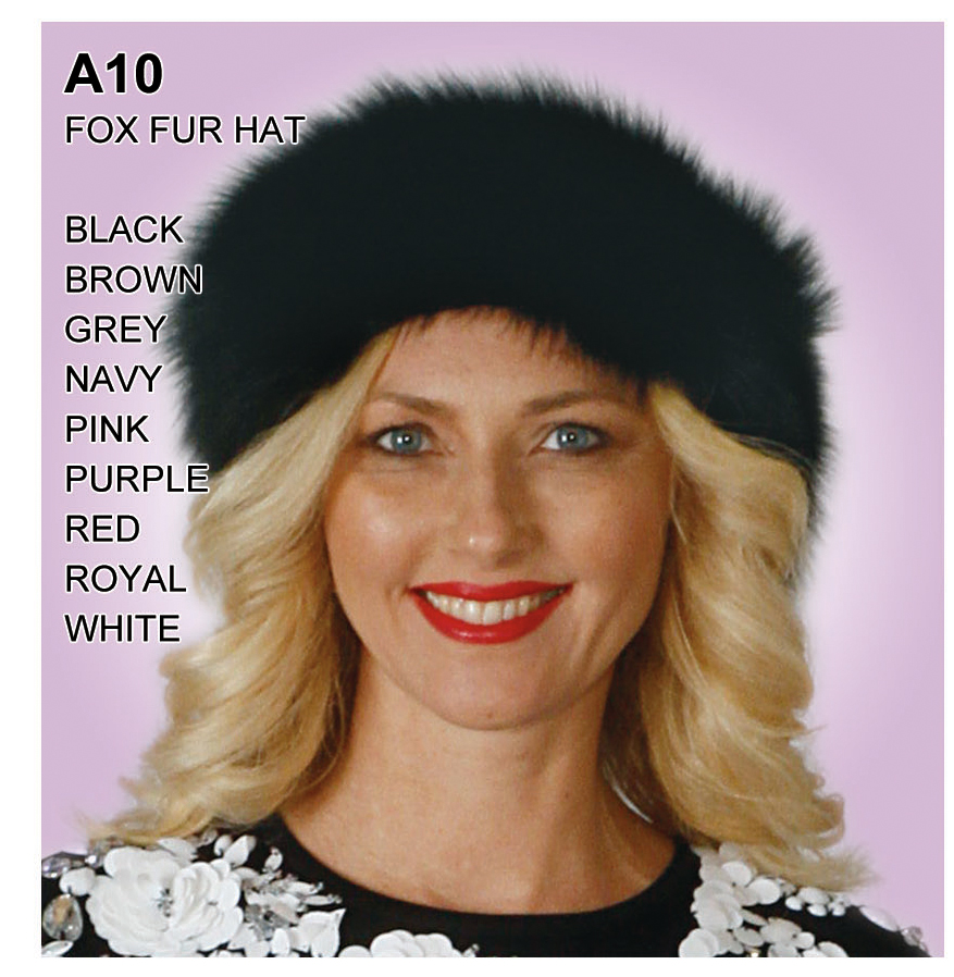 Lily And Taylor Genuine Fox Fur Hat A10-BK