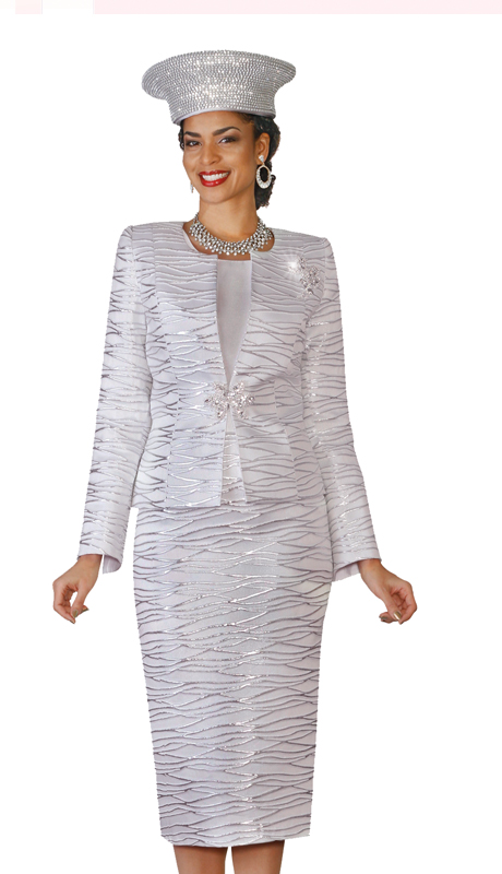 Lily and Taylor 4108-S ( 3pc Novelty Fabric Skirt Suit With Metallic Pattern Design For Church )