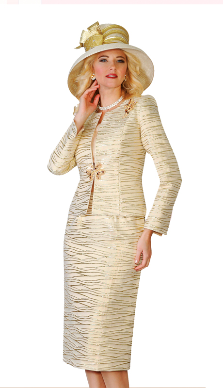 Lily and Taylor 4108-G ( 3pc Novelty Fabric Skirt Suit With Metallic Pattern Design For Church )