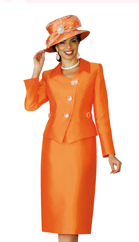 Lily & Taylor 4114-OR ( 2pc Silk Womens Church Suit With Rhinestone Buttons )