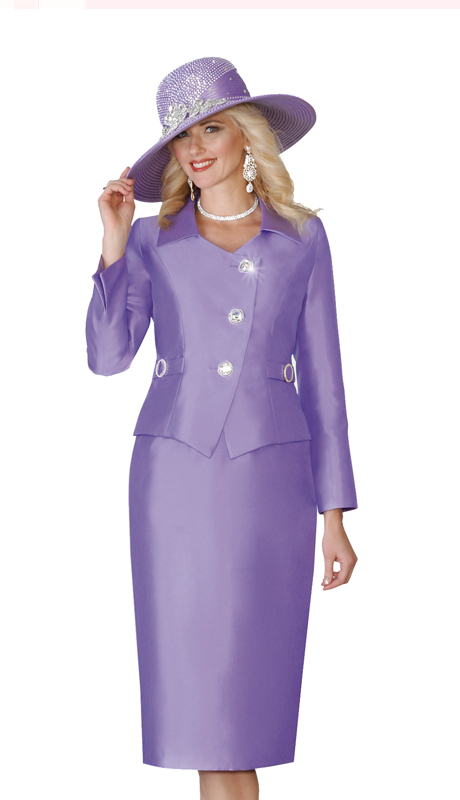 Lily & Taylor 4114-LA  ( 2pc Exclusive Silk Womens Church Suit With Rhinestone Buttons )